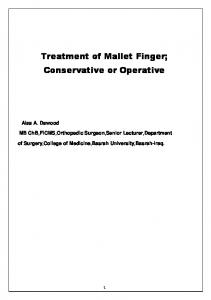 Treatment of Mallet Finger; Conservative or Operative