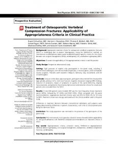 Treatment of Osteoporotic Vertebral Compression ... - Pain Physician
