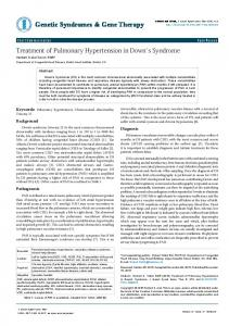 Treatment of Pulmonary Hypertension in Down's Syndrome