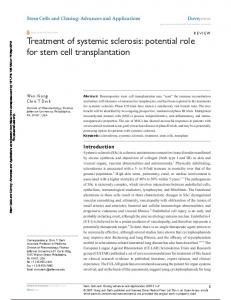 Treatment of systemic sclerosis: potential role for stem ...