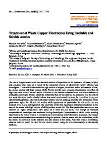 Treatment of Waste Copper Electrolytes Using Insoluble and Soluble
