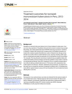 Treatment outcomes for isoniazid-monoresistant tuberculosis ... - PLOS