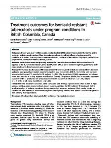 Treatment outcomes for isoniazid-resistant tuberculosis under ...