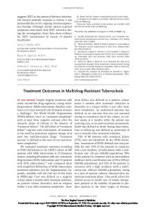 Treatment Outcomes in Multidrug-Resistant Tuberculosis
