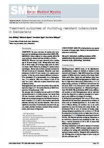 Treatment outcomes of multidrug-resistant tuberculosis in Switzerland