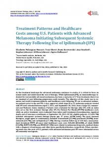 Treatment Patterns and Healthcare Costs among U.S. Patients with ...