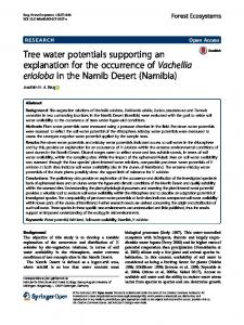 Tree water potentials supporting an explanation for the ... - Springer Link