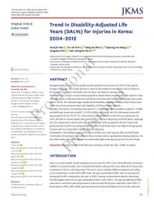 Trend in Disability-Adjusted Life Years (DALYs) - Journal of Korean