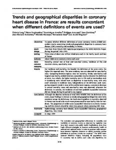 Trends and geographical disparities in coronary heart disease in France