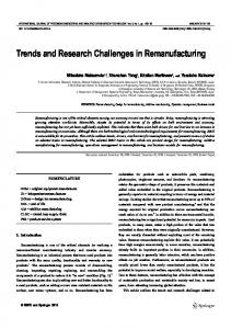 Trends and Research Challenges in Remanufacturing - Springer Link