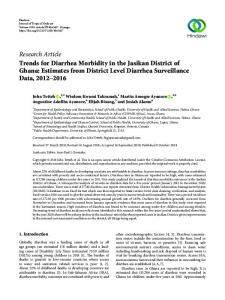 Trends for Diarrhea Morbidity in the Jasikan District of Ghana