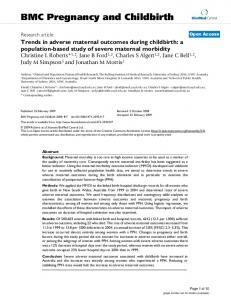 Trends in adverse maternal outcomes during childbirth: a population ...