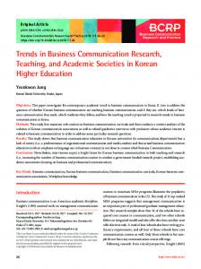 Trends in Business Communication Research, Teaching, and ...