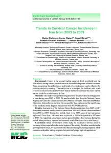Trends in Cervical Cancer Incidence in Iran from 2003