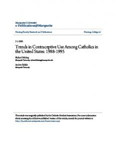 Trends in Contraceptive Use Among Catholics in the United States ...