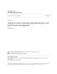 Trends in current Australian agricultural policy and land resource ...