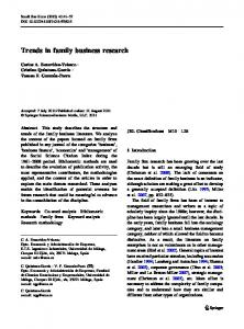 Trends in family business research - Springer Link