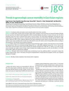 Trends in gynecologic cancer mortality in East ... - KoreaMed Synapse