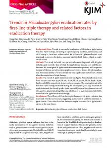 Trends in Helicobacter pylori eradication rates by ... - Semantic Scholar