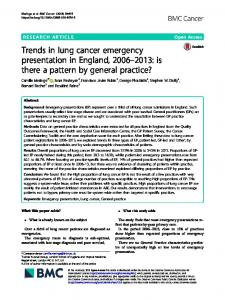 Trends in lung cancer emergency presentation in ... - BMC Cancer