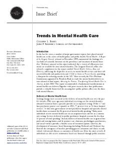 Trends in Mental Health Care - Semantic Scholar