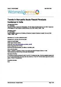 Trends In Non-polio Acute Flaccid Paralysis ... - Dr. Jacob Puliyel