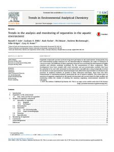 Trends in the analysis and monitoring of organotins in