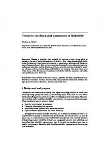 Trends in the Statistical Assessment of Reliability - Semantic Scholar