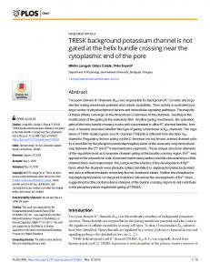 TRESK background potassium channel is not gated at the helix ...