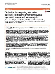 Trials directly comparing alternative spontaneous breathing trial ...