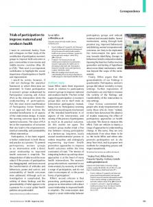 Trials of participation to improve maternal and newborn ... - The Lancet