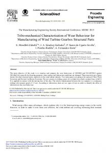 Tribo-mechanical Characterisation of Wear Behaviour ... - Science Direct