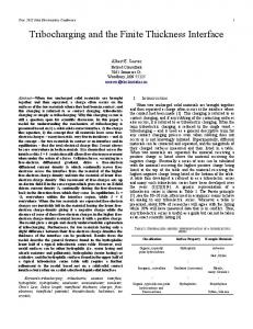 Tribocharging and the Finite Thickness Interface - Electrostatics ...