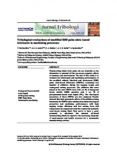 Tribological evaluations of modified RBD palm olein ... - Jurnal Tribologi