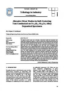 Tribology in Industry Abrasive Wear Modes in Ball-Cratering Test ...