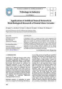 Tribology in Industry Application of Artificial Neural Network in