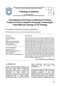 Tribology in Industry Investigation of Friction Coefficient of Various ...