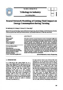 Tribology in Industry Neural Network Modeling of Cutting Fluid Impact ...