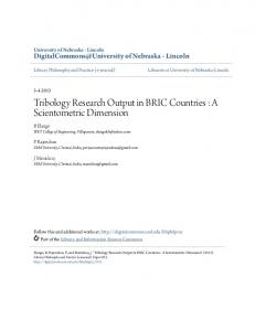 Tribology Research Output in BRIC Countries : A ... - CiteSeerX