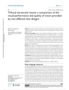 Trifocal intraocular lenses: a comparison of the visual