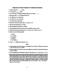 Trigonometry Practice Problems for Precalculus and Calculus 1