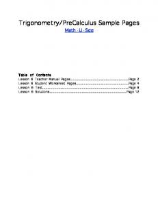 Trigonometry/PreCalculus Sample Pages - Math-U-See
