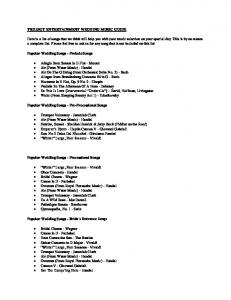 TRILOGY ENTERTAINMENT WEDDING MUSIC GUIDE Here is a list ...