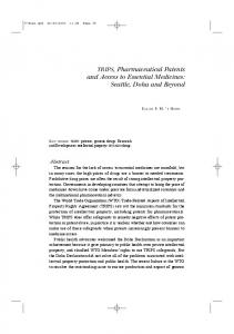 TRIPS, Pharmaceutical Patents and Access to Essential Medicines ...