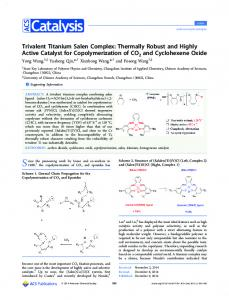 Trivalent Titanium Salen Complex: Thermally ... - ACS Publications