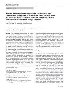 Trophic relationships of hydrothermal vent and non-vent communities ...
