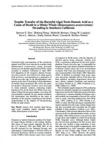 Trophic Transfer of the Harmful Algal Toxin Domoic Acid as a Cause of ...