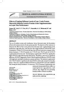 TROPICAL AGRICULTURAL SCIENCE Effects of ... - Pertanika Journal