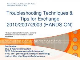 Troubleshooting Techniques & Tips for Exchange 2010/2007/2003 ...