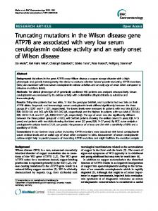 Truncating mutations in the Wilson disease gene ATP7B are ...